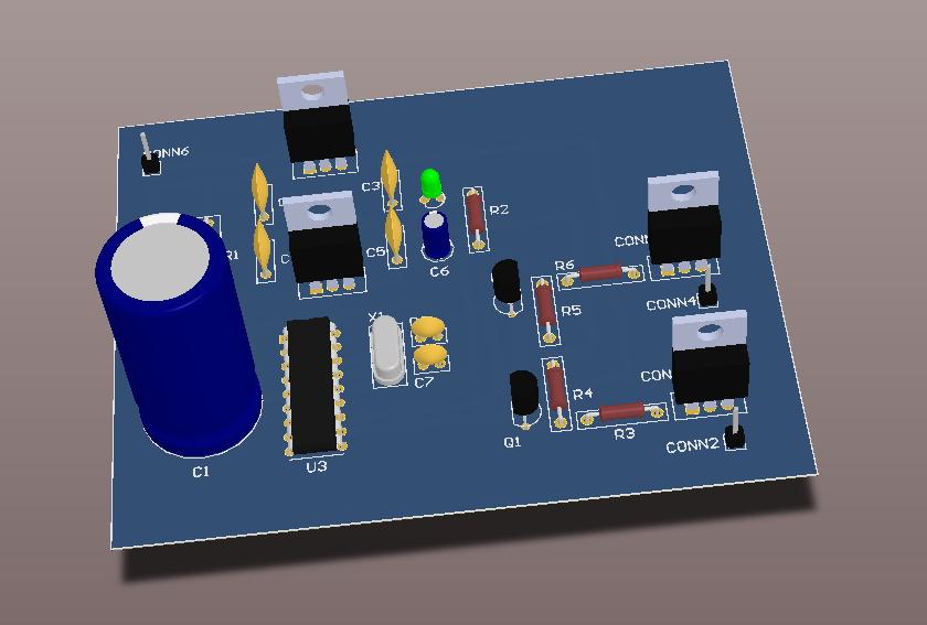 Vista 3D de la PCB.
