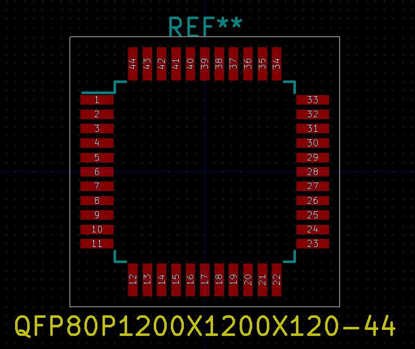 Footprint del PIC18F4550-I/PT.