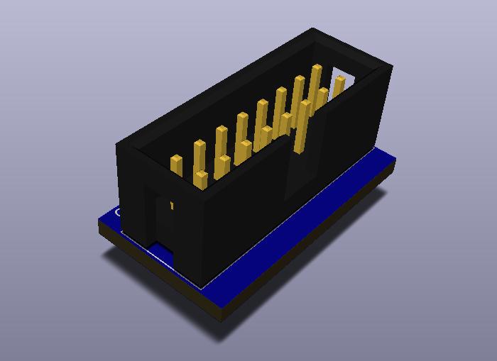 IDC16-2.54-TH-V modelo 3D.