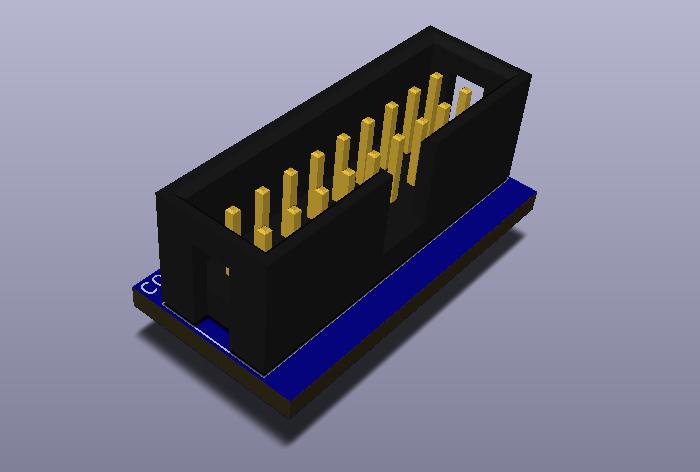 IDC18-2.54-TH-V modelo 3D.
