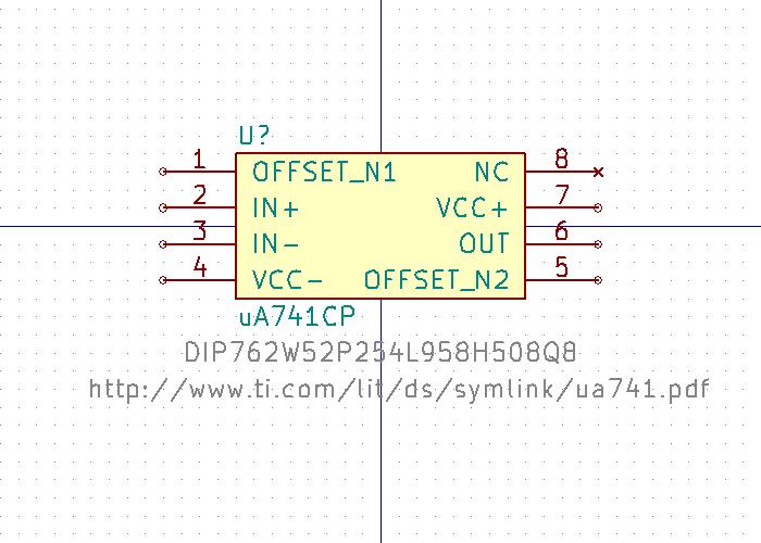 uA741 símbolo de esquema.