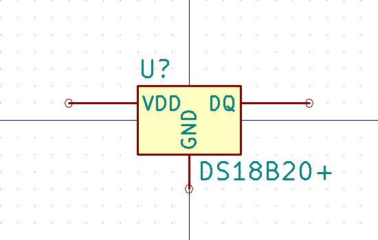 DS18B20+ Símbolo de esquema.