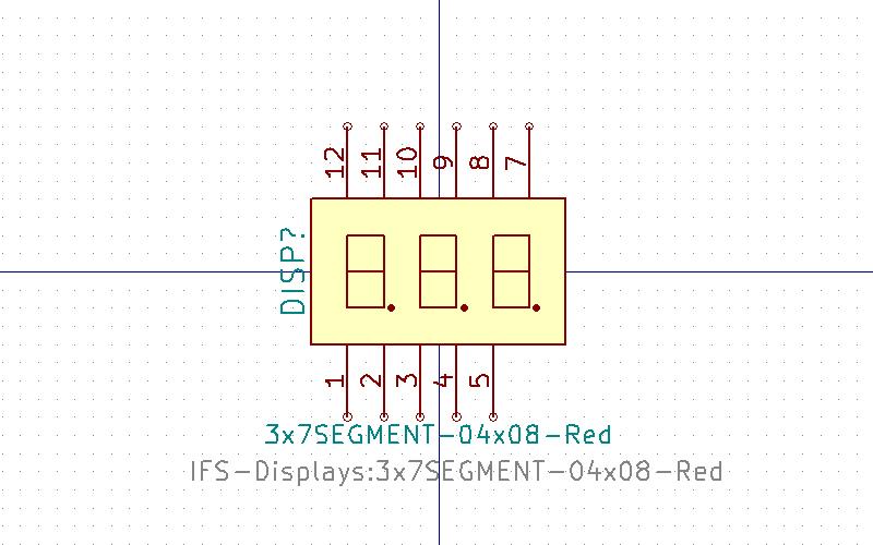 3x7SEGMENT-04x08 Símbolo de Eeschema
