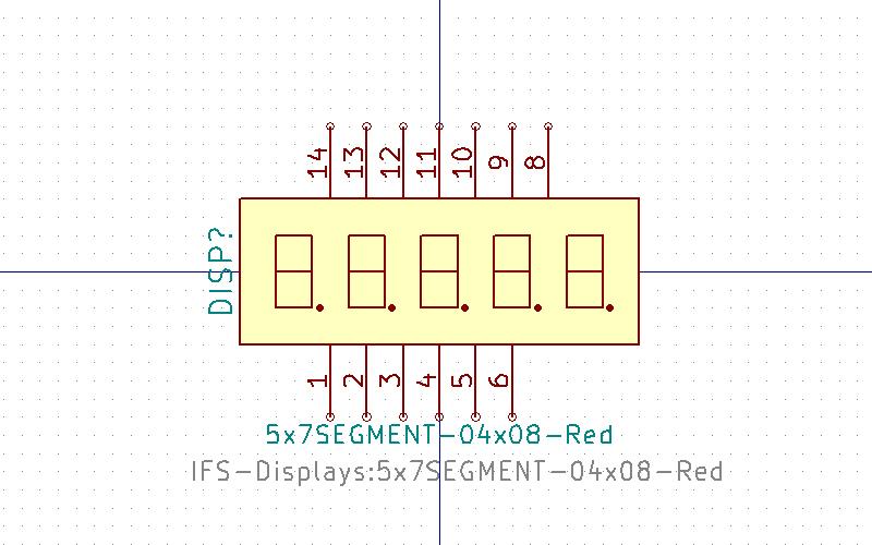 5x7SEGMENT-04x08 Símbolo de Eeschema