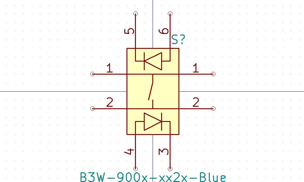 B3W-900x-xx2x Símbolo de Eeschema