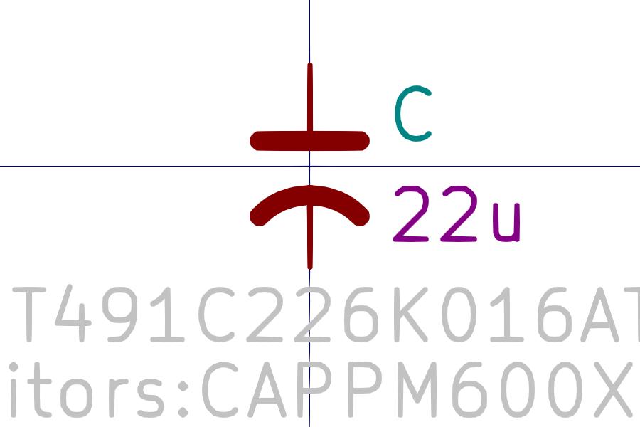 T491C226K016AT Símbolo de Eeschema.